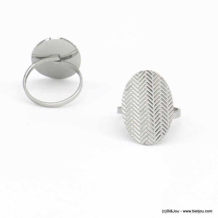 finger ring 0420006-13 oval engraved chevron stainless steel openable adjustable woman 23x17mm