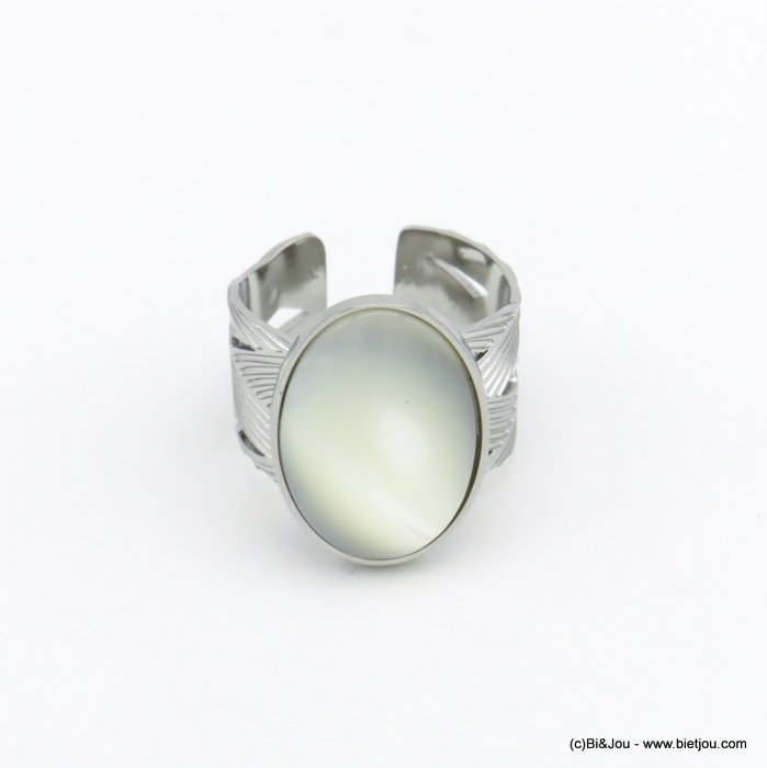 finger ring 0420021-13 stainless steel shell open adjustable woman 14x19x11mm