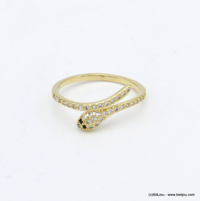 finger ring 0420029-14 golden strass snake metal woman
