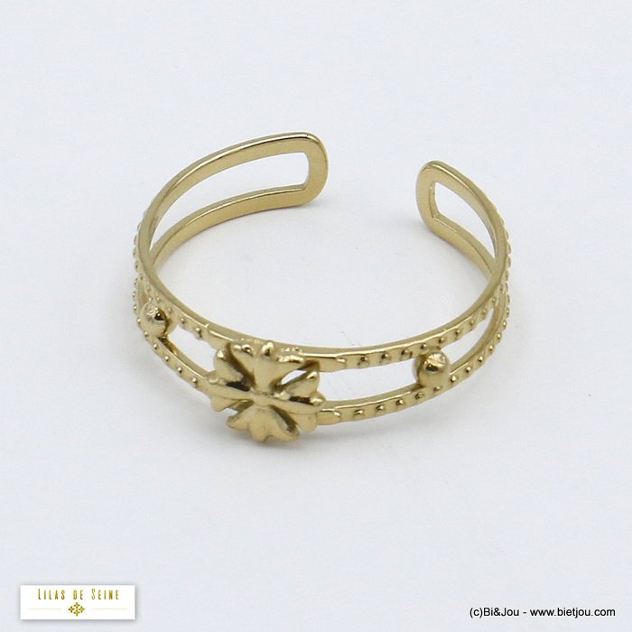 finger ring 0420503-14 open adjustable medieval flower stainless steel 5x17mm