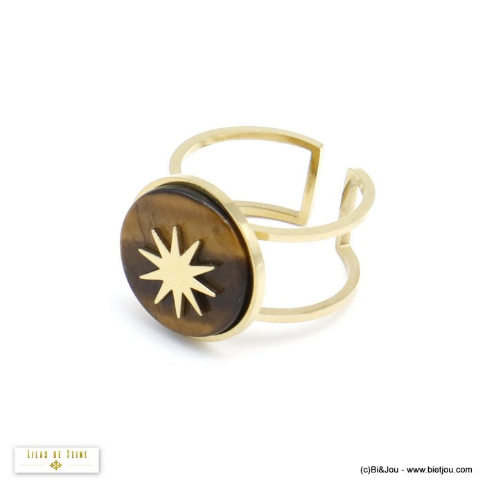 finger ring 0420504-02 open adjustable stone cabochon polar star stainless steel 15x17mm
