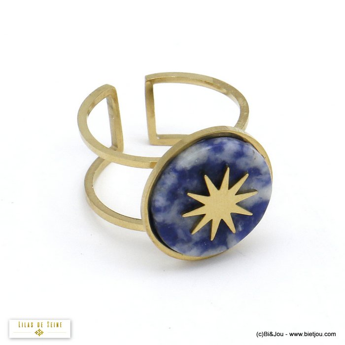 finger ring 0420504-08 open adjustable stone cabochon polar star stainless steel 15x17mm