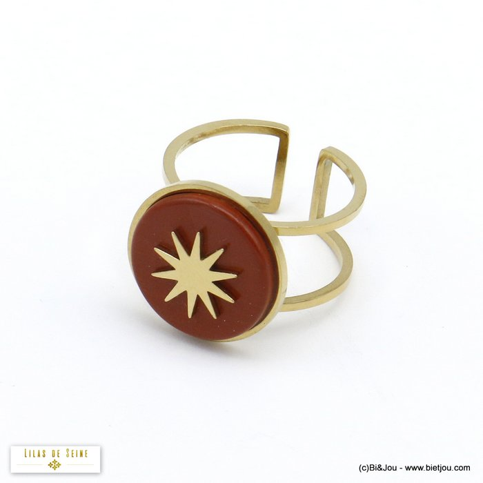 finger ring 0420504-10 open adjustable stone cabochon polar star stainless steel 15x17mm