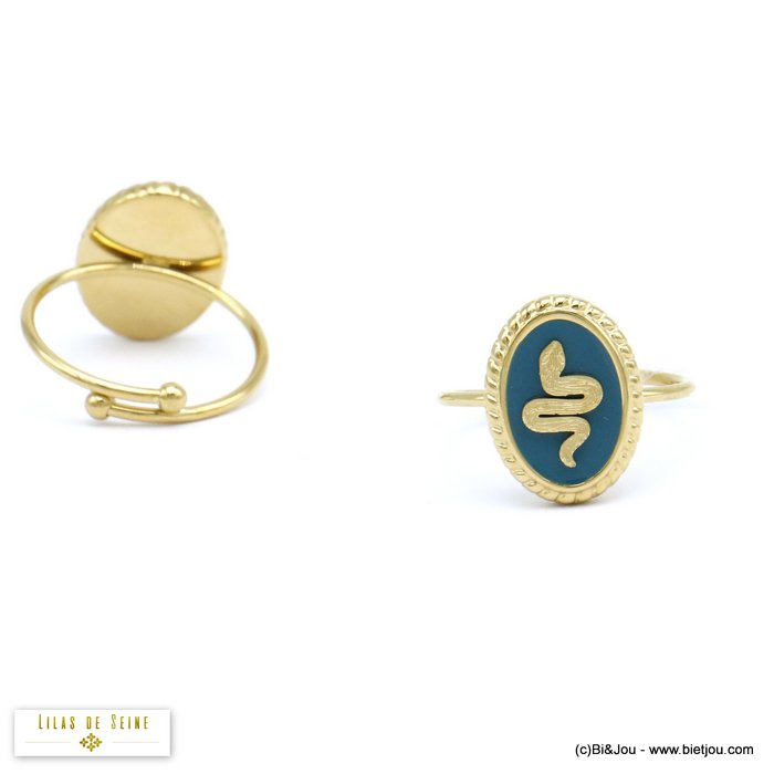 finger ring 0420508-08 stainless steel enamel snake woman