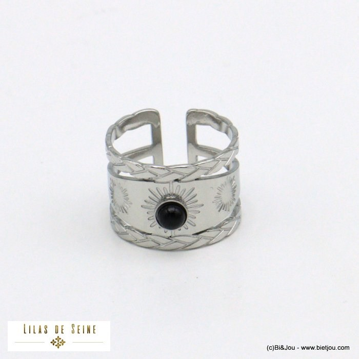 finger ring 0421014-13 natural stone stainless steel open adjustable woman 14mm