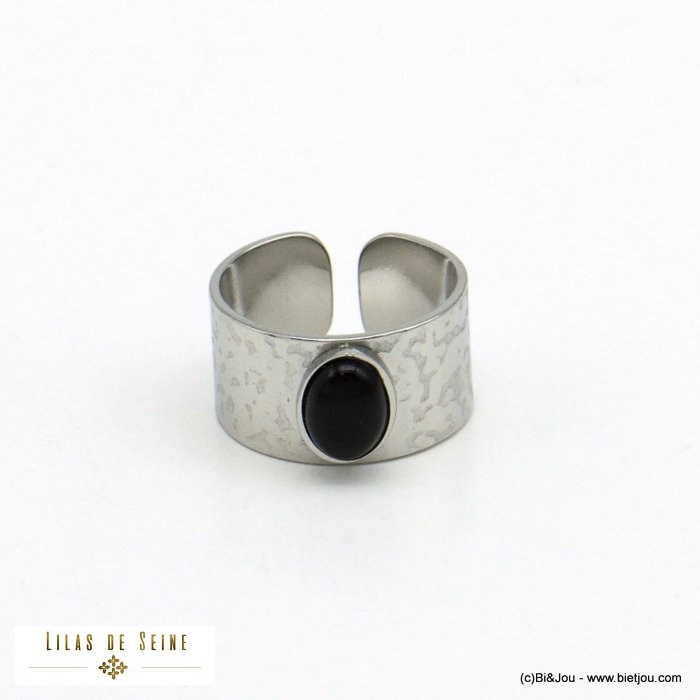 finger ring 0421015-13 natural stone stainless steel open adjustable woman 10mm