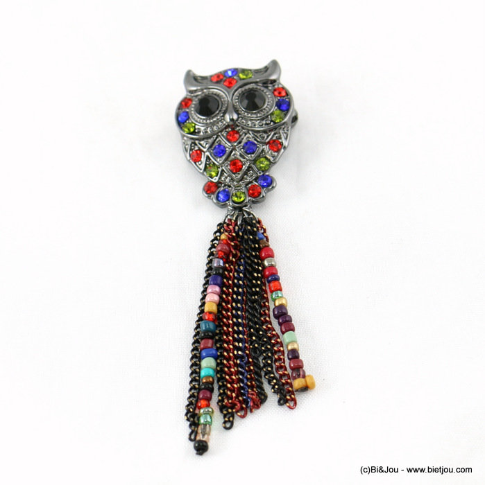 brooche 0515513-99 owl 22x80mm strass-seed beads-metal-glass