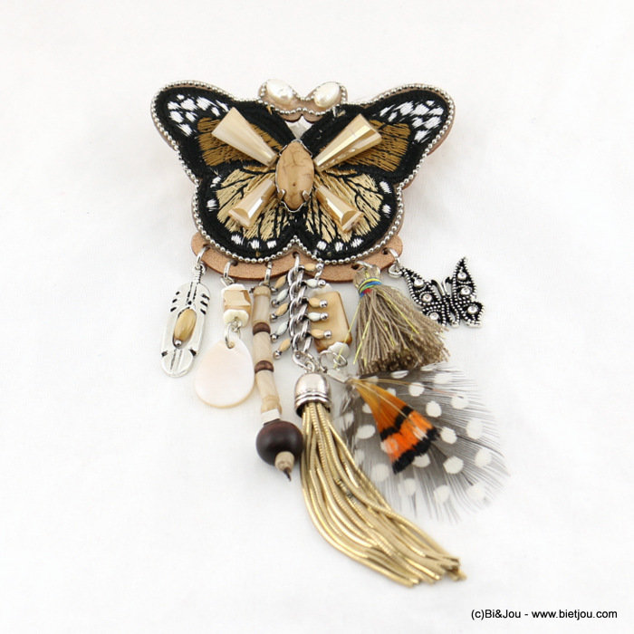 brooche 0517007-06 72x140mm butterfly tassel feather metal-synthetic-crystal-shell-wood-polyester
