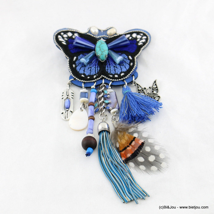 brooche 0517007-09 72x140mm butterfly tassel feather metal-synthetic-crystal-shell-wood-polyester