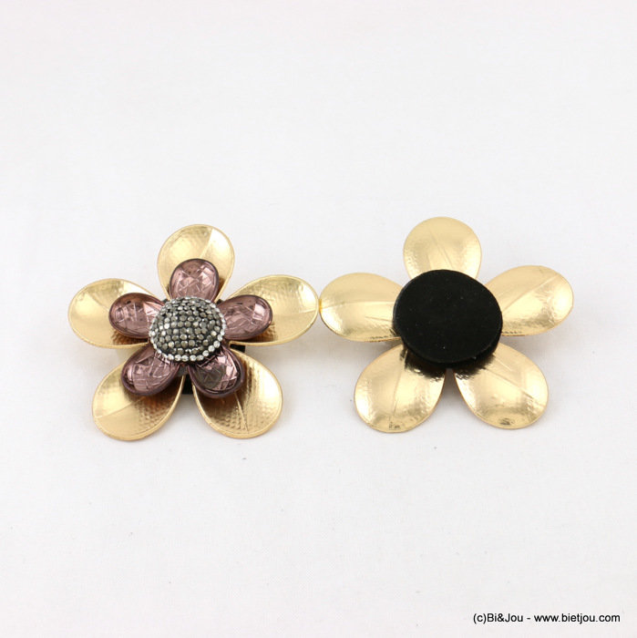 brooche 0517505-02 60mm flower magnet close metal-crystal-suede-strass