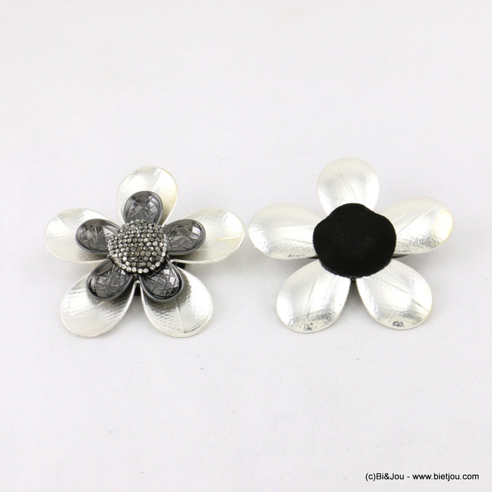 brooche 0517505-20 60mm flower magnet close metal-crystal-suede-strass
