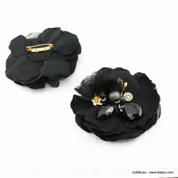 brooch 0517512-01 flower 95mm polyester-glass-crystal-metal-reconstituted stone-synthetic-strass