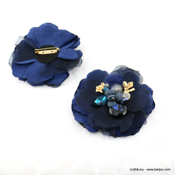 brooch 0517512-09 flower 95mm polyester-glass-crystal-metal-reconstituted stone-synthetic-strass
