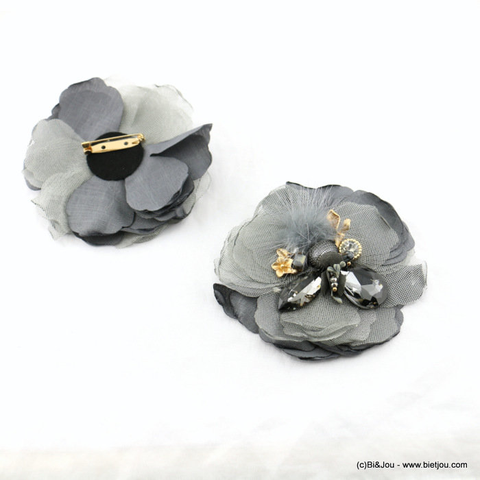 brooch 0517512-25 flower 95mm polyester-glass-crystal-metal-reconstituted stone-synthetic-strass