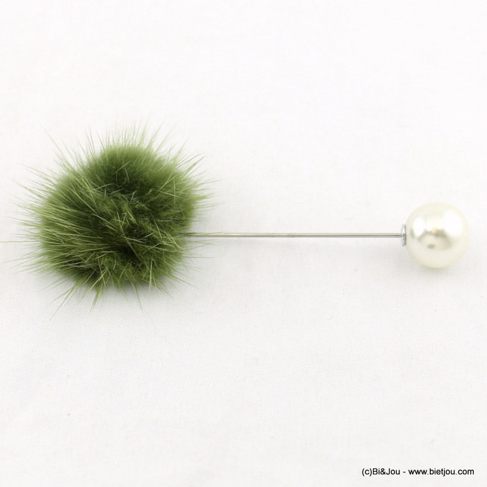 brooch 0517901-03 hat pin buttonhole faux-fur ball faux-pearl bead 9x3cm synthetic-acrylic-metal