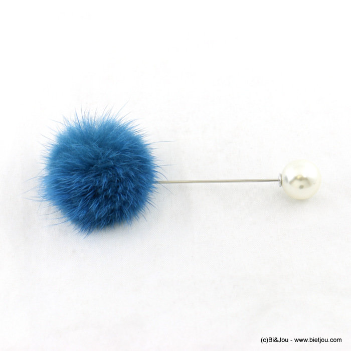 brooch 0517901-08 hat pin buttonhole faux-fur ball faux-pearl bead 9x3cm synthetic-acrylic-metal