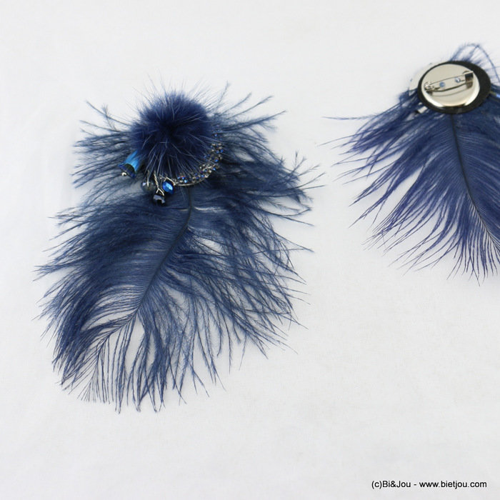 brooch 0517903-09 feather faux-fur ball 8x12cm synthetic-metal-strass-crystal