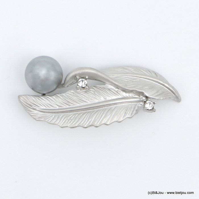 brooch 0518504-13 feather faux-pearl métal-strass-acrylic 50x20mm