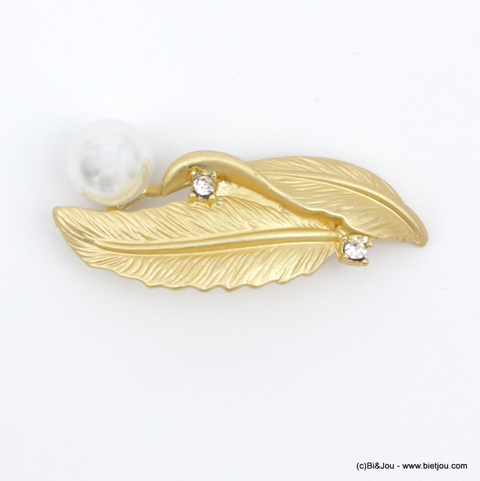 brooch 0518504-14 feather faux-pearl métal-strass-acrylic 50x20mm