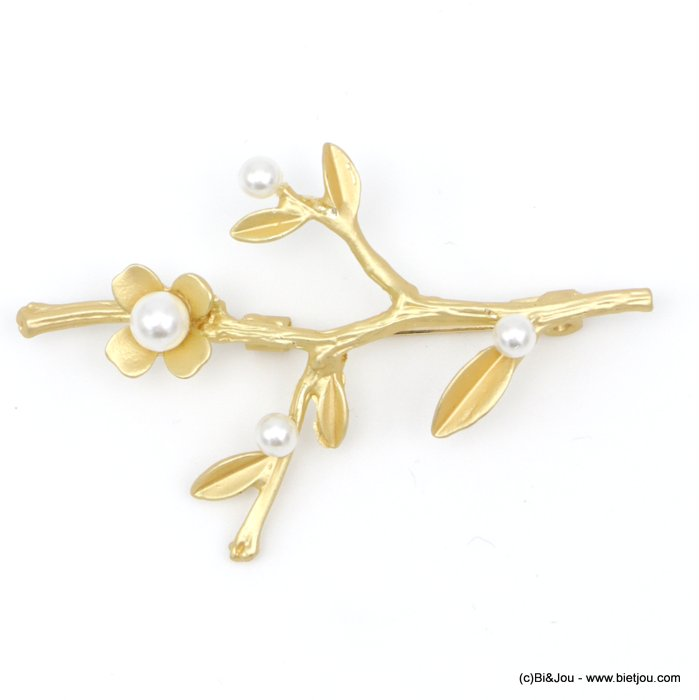 brooch 0518505-14 tree branch flower faux-pearl métal-acrylic 60x35mm