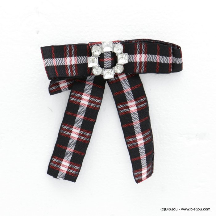 brooch 0518510-01 scottish patterns bowknot rhinestone detail fabric polyester metal woman 12x11cm