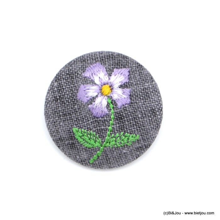 brooch 0518513-04 vintage purple flower fabric pin round 4cm