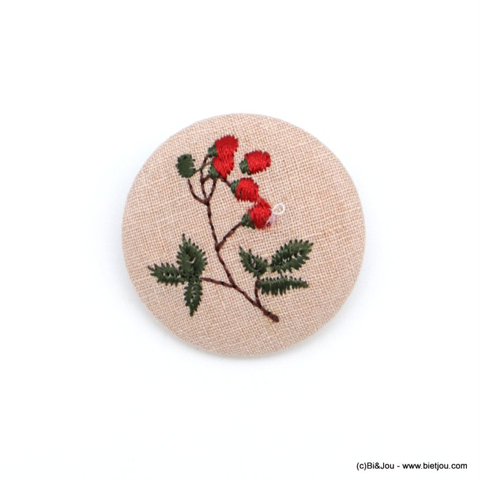brooch 0518514-12 vintage red rose fabric pin round 4cm