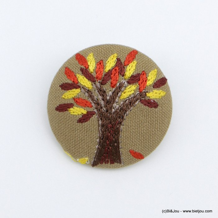 brooch 0518515-11 vintage autumn leaves tree fabric pin round 4cm