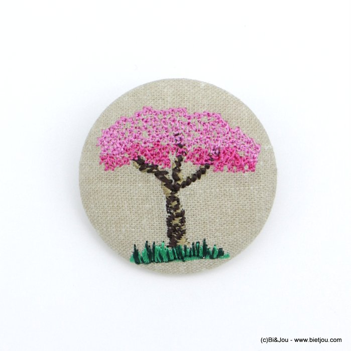 brooch 0518516-18 vintage Japan cherry tree blossoms fabric pin round 4cm