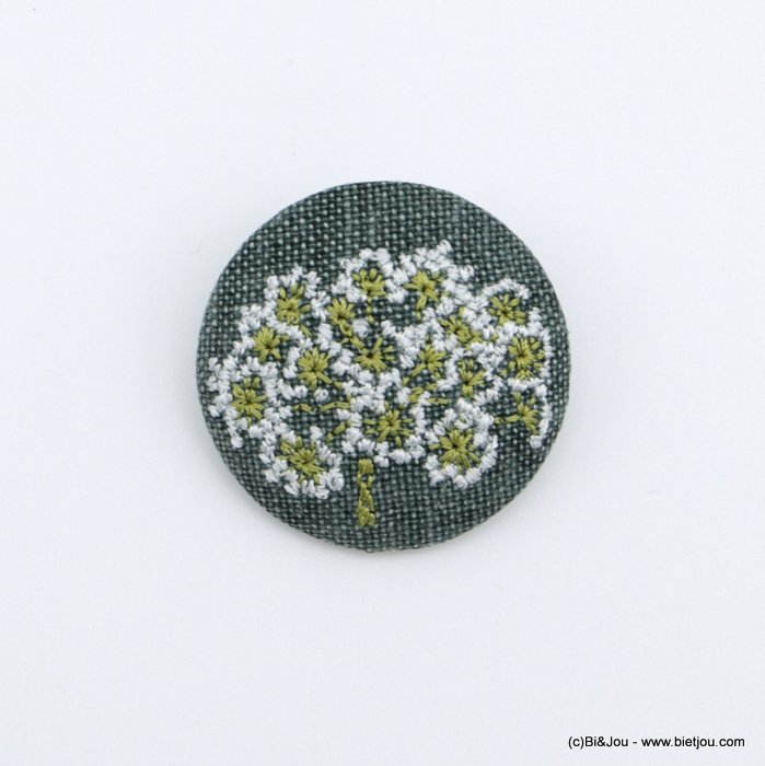 brooch 0518517-07 vintage daisy flower fabric pin round 4cm