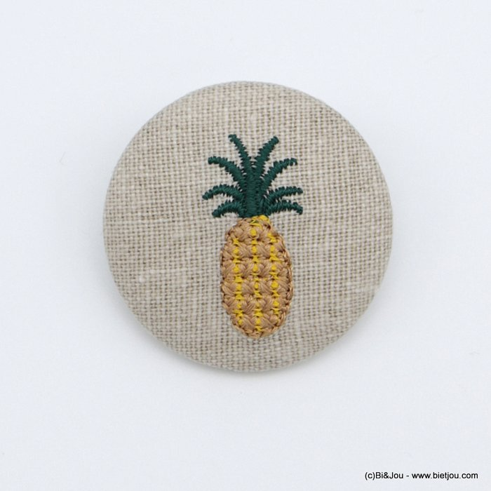 brooch 0518519-14 vintage pineapple fabric pin round 4cm