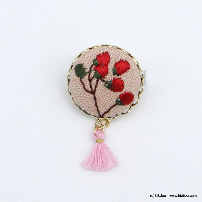 brooch 0518521-12 vintage flower red rose fabric tassel pin round 2cm
