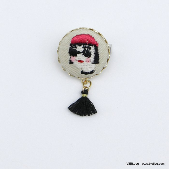 brooch 0518525-12 vintage little girl mathilda fabric tassel pin round 2cm