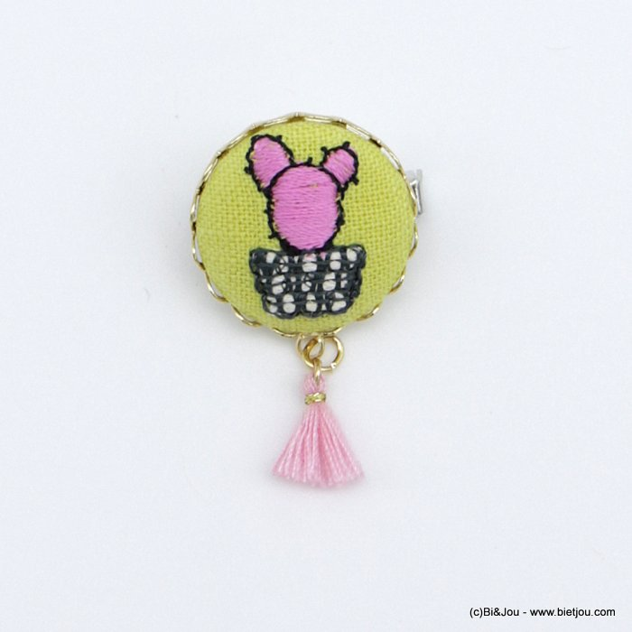 brooch 0518526-18 vintage cactus pink fabric tassel pin round 2cm