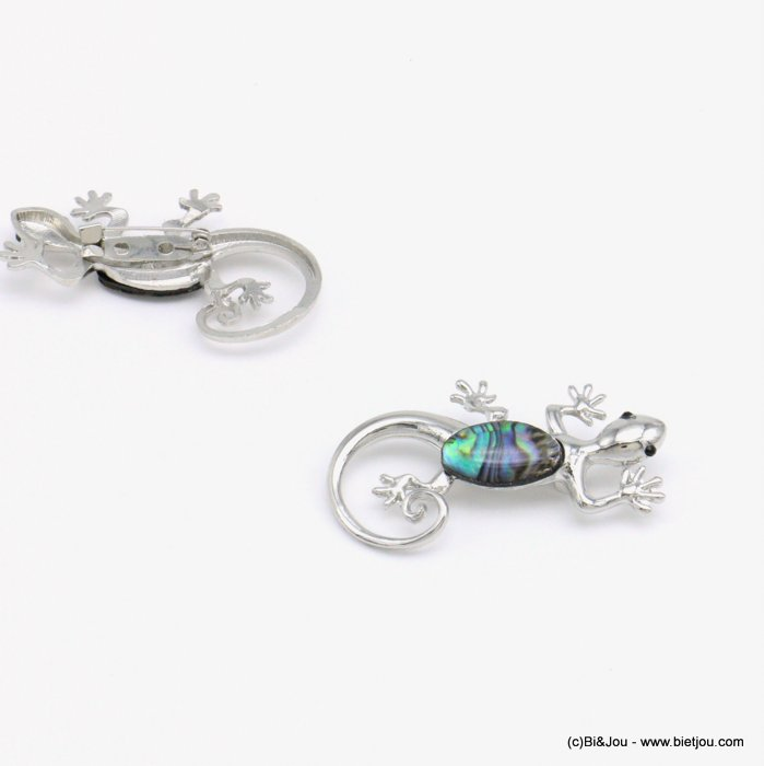 brooche 0519001-13 lizard metal-shell-resin-strass 50x28mm