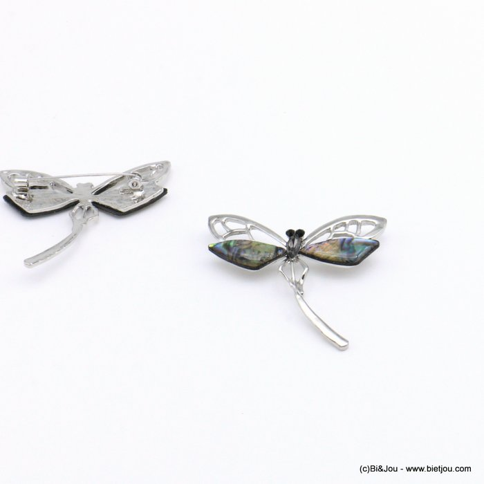 brooche 0519002-13 dragonfly metal-shell-resin-trass 53x43mm