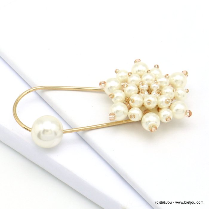 brooch 0519501-19 safety pin flower imitation pearl acrylic 75x40mm