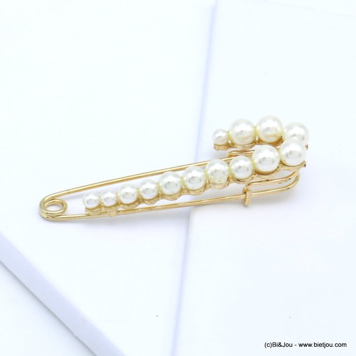 brooch 0519502-19 safety pin ball imitation pearl acrylic 75x20mm