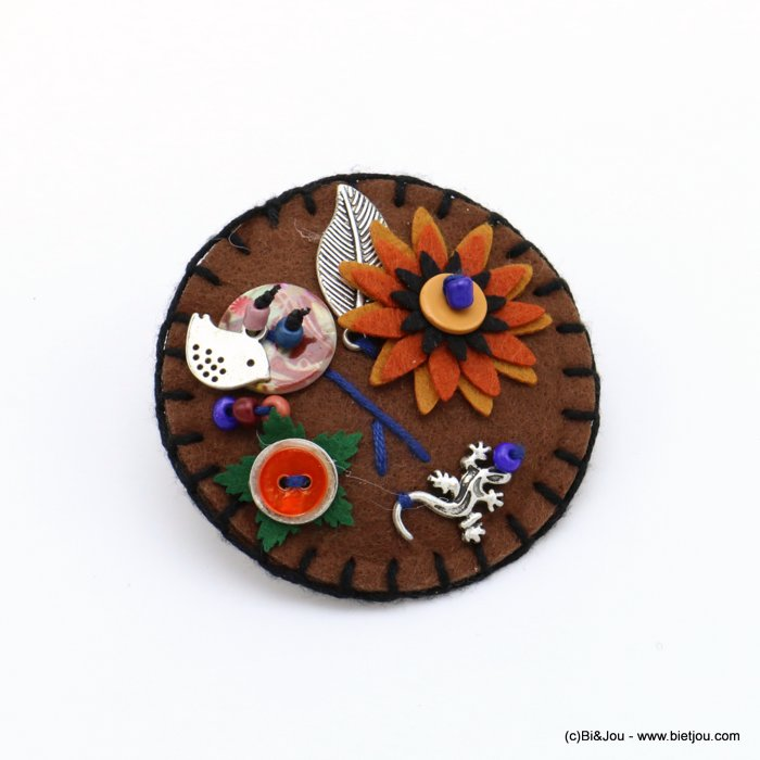 brooch 0519508-02 flower bird lizard 65mm felt-metal-shell