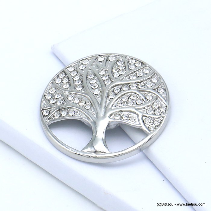 brooch 0519510-13 tree of life magnetic round metal rhinestone 45mm