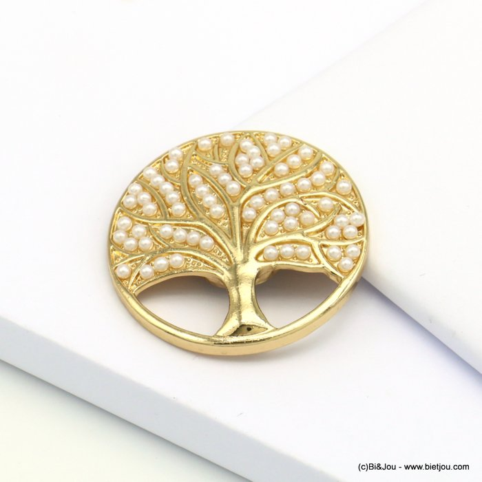 brooch 0519511-14 tree of life magnetic round metal imitation pearl 45mm