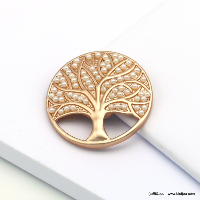 brooch 0519511-23 tree of life magnetic round metal imitation pearl 45mm