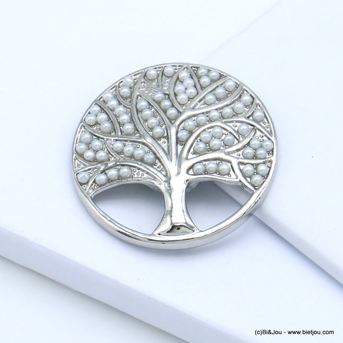 brooch 0519511-25 tree of life magnetic round metal imitation pearl 45mm