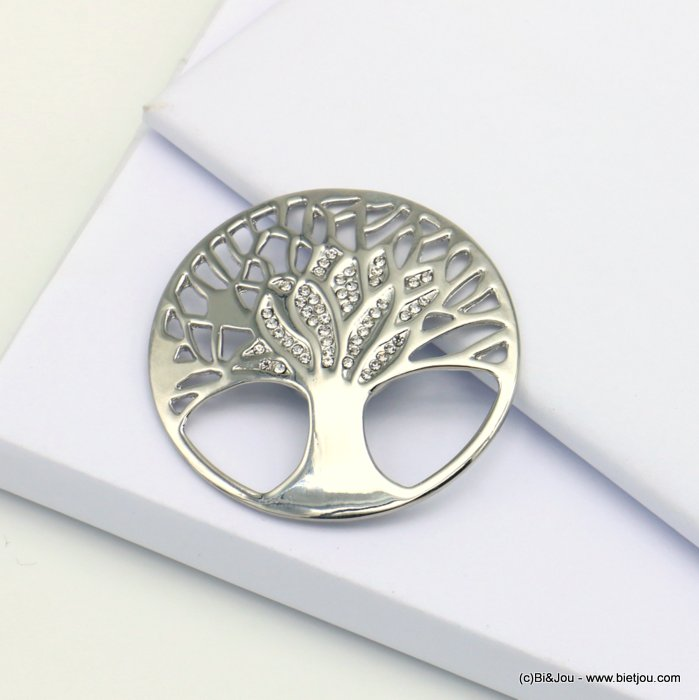 brooch 0519518-13 tree of life magnetic round metal rhinestone 48mm