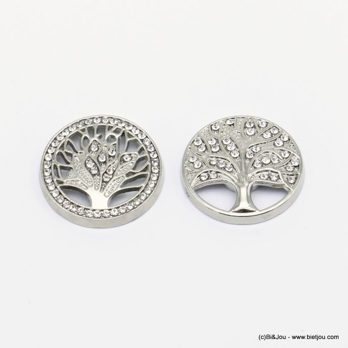 brooch 0520001-13 2PCS tree of life magnetic round metal rhinestone 25mm