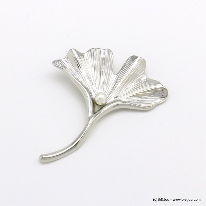 brooch 0520501-13 magnetic metal ginkgo leaf imitation pearl woman 55x70mm