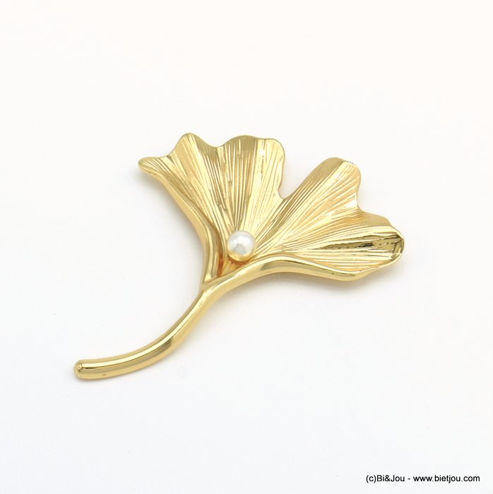 brooch 0520501-14 magnetic metal ginkgo leaf imitation pearl woman 55x70mm