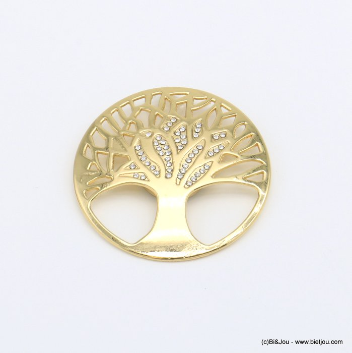 brooch 0520503-14 round magnetic tree of life metal rhinestone woman 48mm