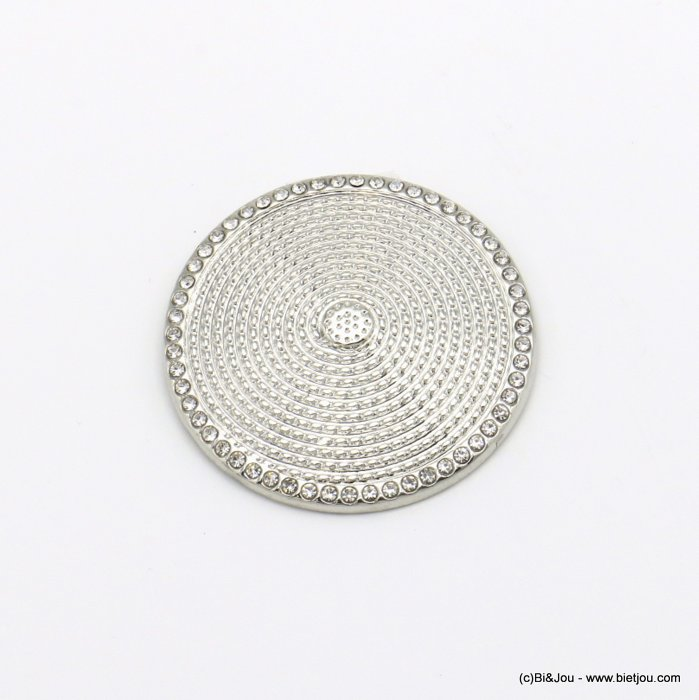brooch 0520504-13 round magnetic spiral metal rhinestone woman 35mm
