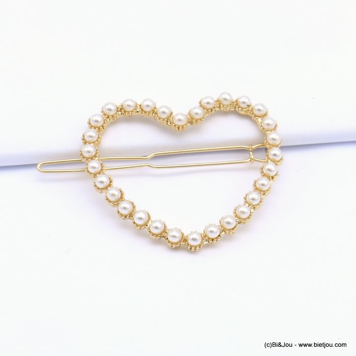hair grip 0619020-14 heart metal-acrylic 50x44mm